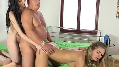 doctor  fucking  grandpa  nurse  old and young  threesome  young
