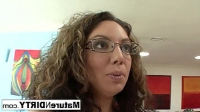 brunette   couch   glasses   milf   seduced